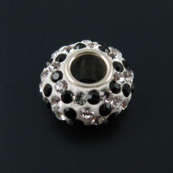 Wholesale European .925 Sterling Silver Charm Beads CZ Black and Silver Stones