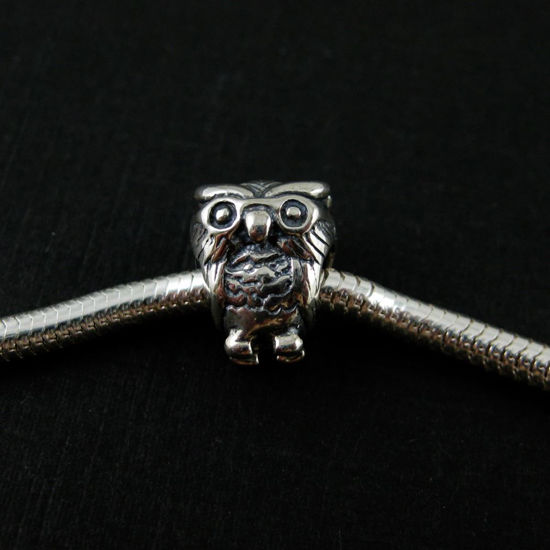 Wholesale European .925 Sterling Silver Wise Owl Charm Beads