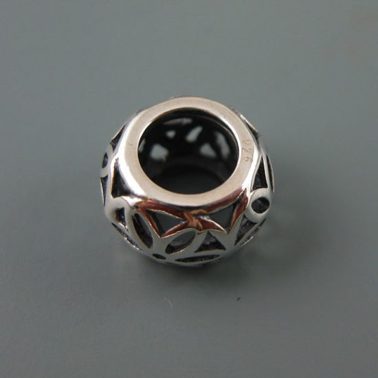 Wholesale European .925 Sterling Silver Large Flower Charm Bead