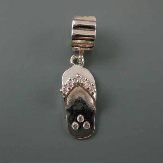Wholesale European .925 Sterling Silver CZ Sandal Charm Bead