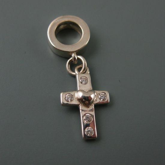 Wholesale European .925 Sterling Silver CZ Cross Charm Bead