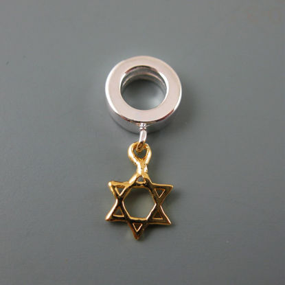 Wholesale European .925 Vermeil Star of David Charm Bead