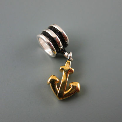 Wholesale European .925 Sterling Silver and Vermeil Nautical Anchor Charm Bead