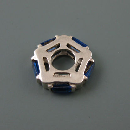 Wholesale European .925 Sterling Silver CZ Blue Pentagon Charm Beads