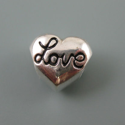 Wholesale European .925 Sterling Silver Heart with Love Charm Bead