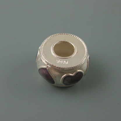 Wholesale European .925 Sterling Silver Fancy Charm Bead with Purple Hearts