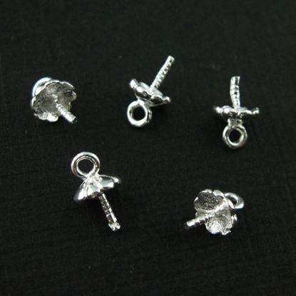 Wholesale Sterling Silver Fancy Peg Bail for Half Drilled Pearls and Beads