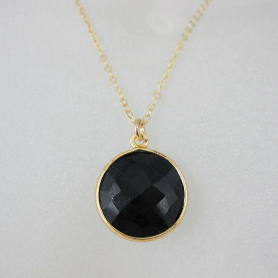 "Wholesale Bezel Gemstone Round Pendant Necklace - Gold Plated Chain - Black Onyx (16-24"")"