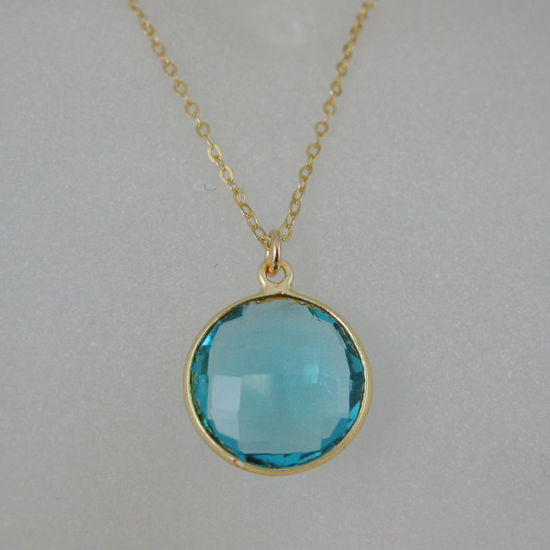 "Wholesale Bezel Gemstone Round Pendant Necklace - Gold Plated Chain - Blue Quartz (16-24"")"