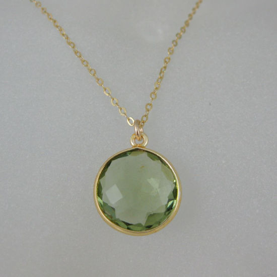 "Wholesale Bezel Gemstone Round Pendant Necklace - Gold Plated Chain - Green Amethyst Quartz(16-24"")"