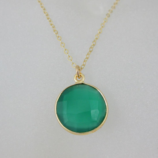 """Wholesale Bezel Gemstone Round Pendant Necklace - Gold Plated Chain - Green Onyx (16-24"""")"""
