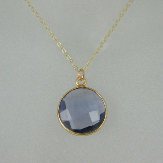 "Wholesale Bezel Gemstone Round Pendant Necklace - Gold Plated Chain - Iolite Quartz (16-24"")"