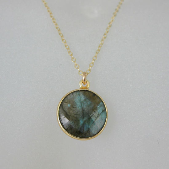 "Wholesale Bezel Gemstone Round Pendant Necklace - Gold Plated Chain - Labradorite (16-24"")"