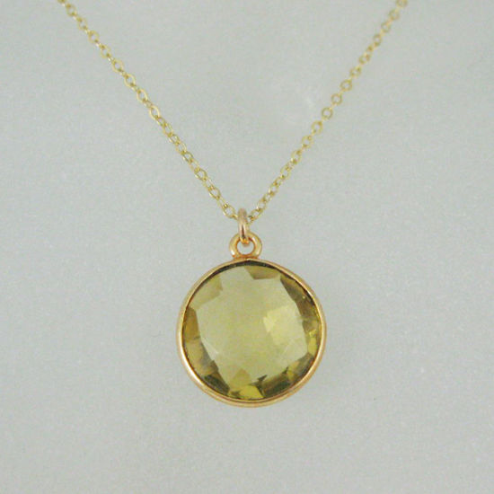 "Wholesale Bezel Gemstone Round Pendant Necklace - Gold Plated Chain - Lemon Quartz (16-24"")"