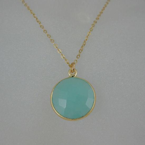 "Wholesale Bezel Gemstone Round Pendant Necklace - Gold Plated Chain - Peru Chalcedony (16-24"")"