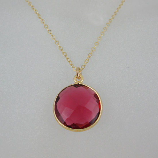 "Wholesale Bezel Gemstone Round Pendant Necklace - Gold Plated Chain - Rubylite Quartz (16-24"")"