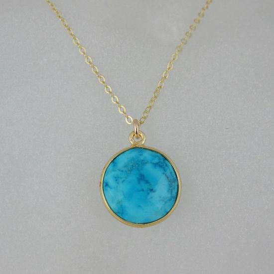 "Wholesale Bezel Gemstone Round Pendant Necklace - Gold Plated Chain - Turquoise (16-24"")"