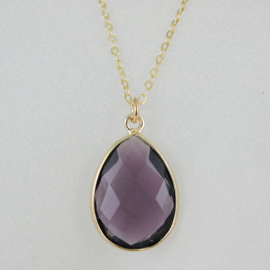 Wholesale Bezel Gemstone Tear Pendant Necklace - Gold Plated Chain - Amethyst (16 - 24 inch)