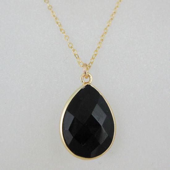 Wholesale Bezel Gemstone Tear Pendant Necklace - Gold Plated Chain - Black Onyx (16 - 24 inch)