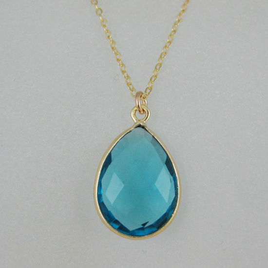 Wholesale Bezel Gemstone Tear Pendant Necklace - Gold Plated Chain - Blue Quartz (16 - 24 inch)