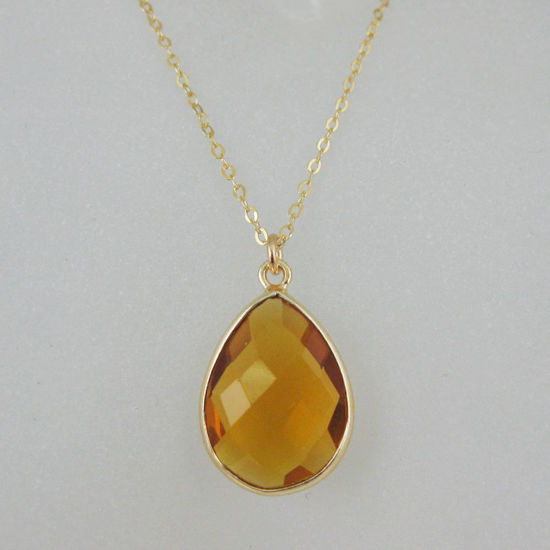 Wholesale Bezel Gemstone Tear Pendant Necklace - Gold Plated Chain - Citrine Quartz (16 - 24 inch)