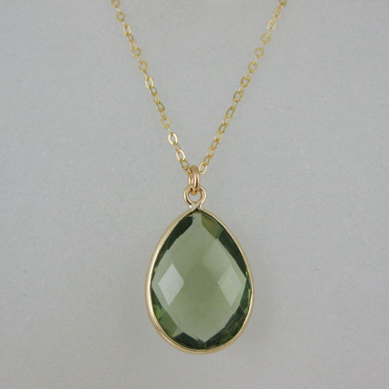 Wholesale Bezel Gemstone Tear Pendant Necklace - Gold Plated Chain - Green Amethyst Quartz (16 - 24 inch)