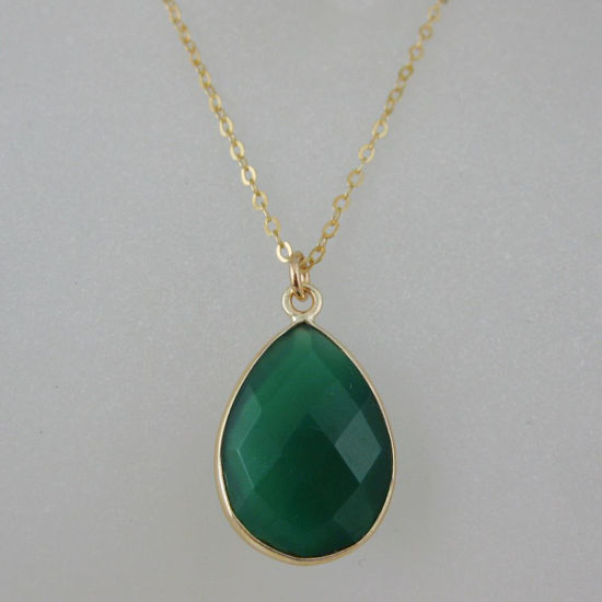 Wholesale Bezel Gemstone Tear Pendant Necklace - Gold Plated Chain - Green Onyx (16 - 24 inch)