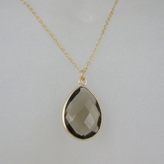 Wholesale Bezel Gemstone Tear Pendant Necklace - Gold Plated Chain - Smoky Quartz  (16 - 24 inch)