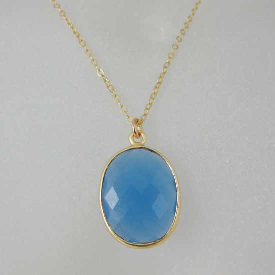 """Wholesale Bezel Gemstone Oval Pendant Necklace - Gold Plated Chain - Blue Chalcedony (16-24"""")"""