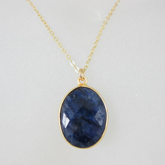 "Wholesale Bezel Gemstone Oval Pendant Necklace - Gold Plated Chain - Blue Sapphire Dyed (16-24"")"