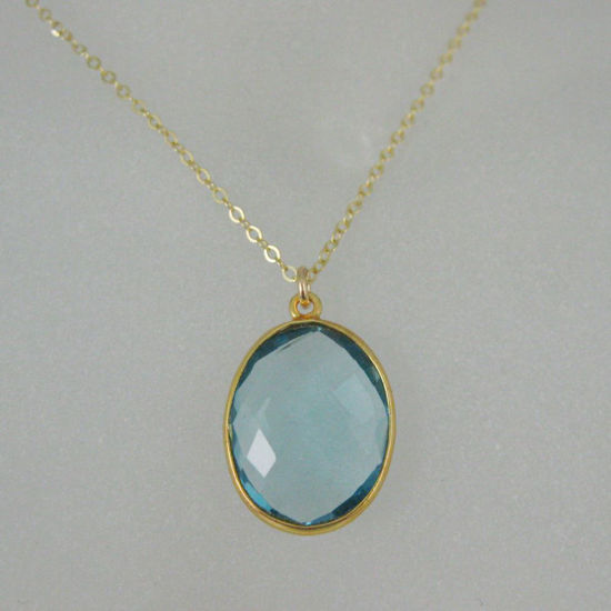 "Wholesale Bezel Gemstone Oval Pendant Necklace - Gold Plated Chain - Blue Topaz (16-24"")"