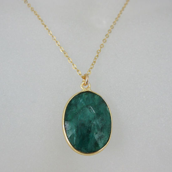 """Wholesale Bezel Gemstone Oval Pendant Necklace - Gold Plated Chain - Emerald Dyed (16-24"""")"""