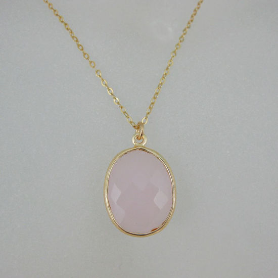 """Wholesale Bezel Gemstone Oval Pendant Necklace - Gold Plated Chain - Pink Chalcedony (16-24"""")"""