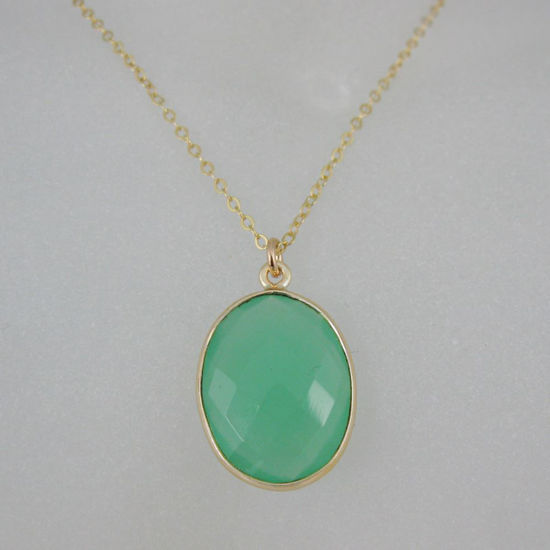 """Wholesale Bezel Gemstone Oval Pendant Necklace - Gold Plated Chain - Prenite Chalcedony (16-24"""")"""