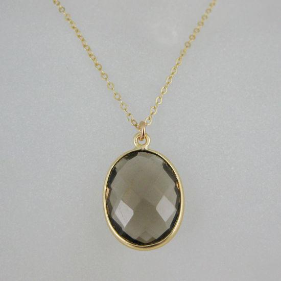 "Wholesale Bezel Gemstone Oval Pendant Necklace - Gold Plated Chain - Smoky Quartz (16-24"")"