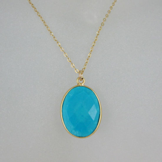 "Wholesale Bezel Gemstone Oval Pendant Necklace - Gold Plated Chain - Turquoise (16-24"")"