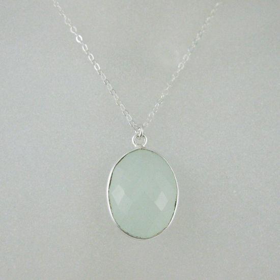 "Wholesale Bezel Gemstone Oval Pendant Necklace - Silver Sterling Chain - Aqua Chalcedony (16-24"")"