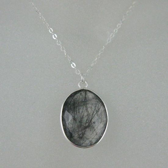 "Wholesale Bezel Gemstone Oval Pendant Necklace - Silver Sterling Chain - Black Rutilated Quartz (16-24"")"
