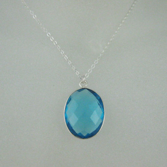 "Wholesale Bezel Gemstone Oval Pendant Necklace - Silver Sterling Chain - Blue Topaz(16-24"")"