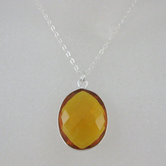 "Wholesale Bezel Gemstone Oval Pendant Necklace - Silver Sterling Chain - Citrine Quartz (16-24"")"