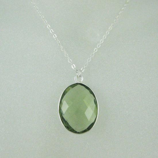 "Wholesale Bezel Gemstone Oval Pendant Necklace - Silver Sterling Chain - Green Amethyst Quartz (16-24"")"