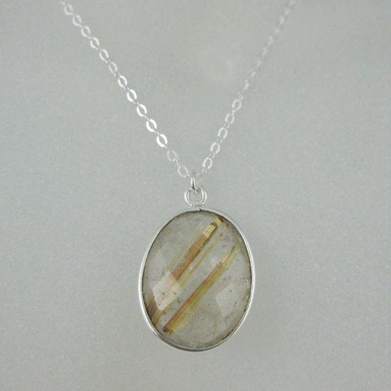 "Wholesale Bezel Gemstone Oval Pendant Necklace - Silver Sterling Chain - Gold Rutilated Quartz (16-24"")"