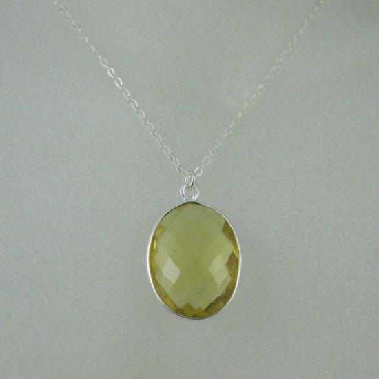 """Wholesale Bezel Gemstone Oval Pendant Necklace - Silver Sterling Chain - Lemon Quartz (16-24"""")"""