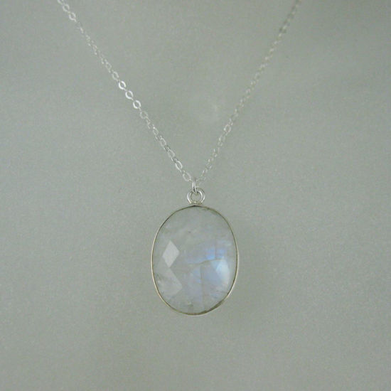 "Wholesale Bezel Gemstone Oval Pendant Necklace - Silver Sterling Chain - Moonstone (16-24"")"