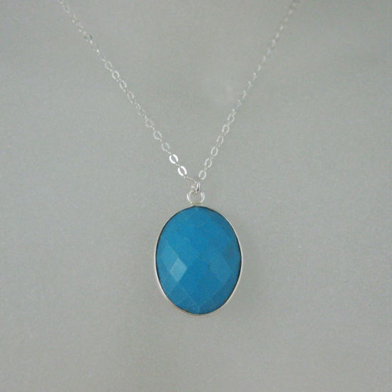 """Wholesale Bezel Gemstone Oval Pendant Necklace - Silver Sterling Chain - Turquoise (16-24"""")"""