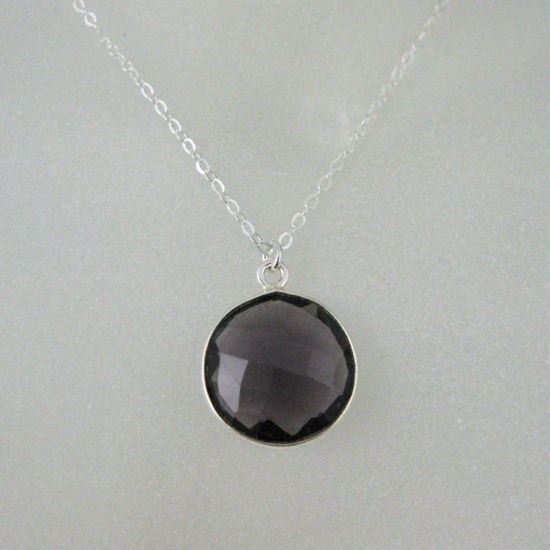 "Wholesale Bezel Gemstone Round Pendant Necklace - Sterling Silver - Amethyst (16-24"")"