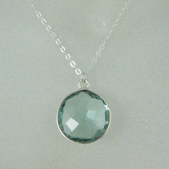"Wholesale Bezel Gemstone Round Pendant Necklace - Sterling Silver - Aqua Quartz (16-24"")"