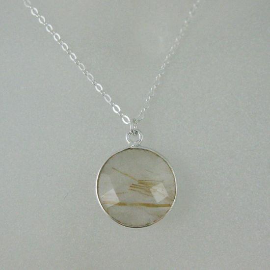 "Wholesale Bezel Gemstone Round Pendant Necklace - Sterling Silver - Gold Rutilated Quartz (16-24"")"