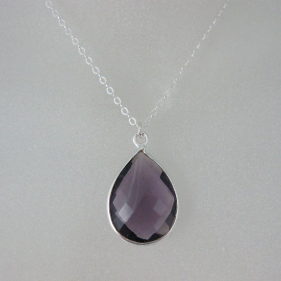 "Wholesale Bezel Gemstone Tear Pendant Necklace - Silver Sterling Chain - Amethyst (16-24"")"