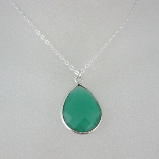 "Wholesale Bezel Gemstone Tear Pendant Necklace - Silver Sterling Chain - Green Onyx (16-24"")"
